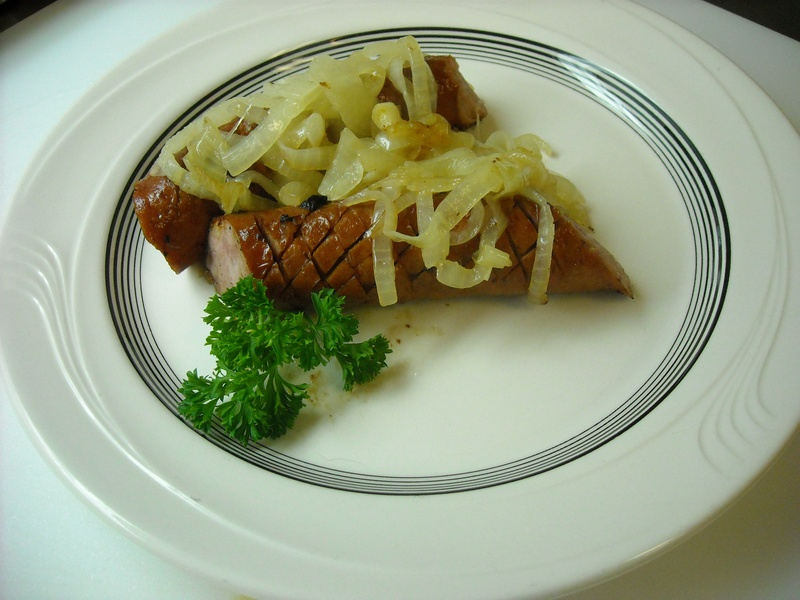 Polish sausage with onion